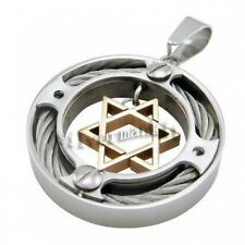 Men's Silver Gold Star of David 316L Stainless Steel Pendant + Necklace