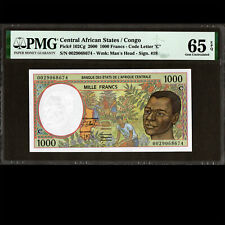 CENTRAL AFRICAN STATES CONGO 1000 FRANCS 2000 PMG 65 CHOICE UNC P-102Cg
