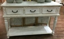 French Provincial White Console 3 Drawer Table 120cms