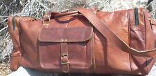 New24 Men genuine Leather large vintage duffel travel gym weekend overnight bag