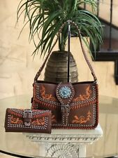 Western Montana West Embroided Handbag Concho With Matching Wallet Set Brown