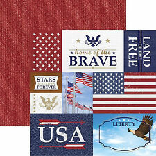 Paper House HOME OF THE BRAVE 12x12 Dbl-Sided Printed Cardstock 3x4 4x6 Cards