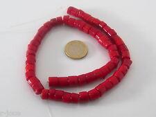 1 filo di tronchetti piccoli in corallo bambù rosso 8/9x8 mm circa lungo 40 cm