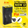 Nitecor New I2 Universal Smart Battery Charger 2 Slots with Car Adapter 18650
