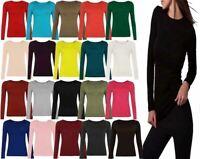 Ladies Plain Long Sleeve Round Neck T Shirt Womens Basic Stretch Top Plus Size
