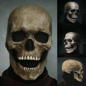 Full Head Skull Mask Helmet Movable Jaw Halloween Party Prop Graveyard Cosplay