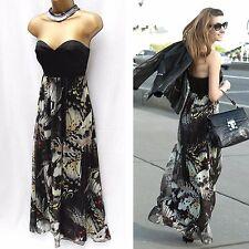 KAREN MILLEN Black Silk Butterfly Print Cocktail Corset Long Maxi Summer Dress 8