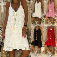 Plus Size Womens Lace Midi Dress Strappy Summer Beach Loose A-Line Tunic Tops US