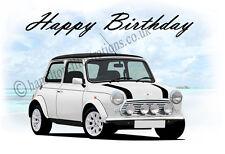 Classic Rover Mini  21st 40th 50th 60th Birthday Car Dad Greetings Card *WHITE*