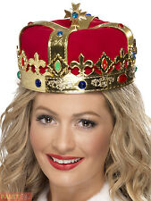 Adults Royal Crown King Queen Fancy Dress Accessory Christmas Medieval Hat