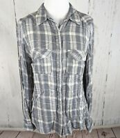 Maurices Long Sleeve Button Down Plaid Top Gray White Blouse Small S Womens