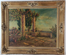 "Oil Painting on Board Outdoor Garden Scene Framed Art HomeDeco (21.5"" x 25.5"")"