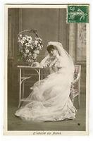 c 1907 Glamour Glamor Corset BEAUTIFUL BRIDE Wedding marriage photo postcard