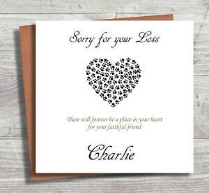 Personalised Pet Sympathy Card, Pet Bereavement, Loss of Companion