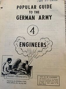 Original ww2 popular guide to the German army engineers/ home guard issued