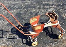 "Vintage 1950s Antique White Metal Wooden Baby Stroller Walker 36"" x 18"" x 17"""