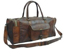 Natural Leather handmade travel luggage vintage overnight weekend duffel Gym Bag