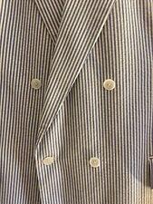 Men's Blue White Custom Seersucker Suit Jacket:38, Pants: 40x32