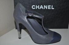 $1095 CHANEL 13B Grey Leather Metal Heel Cap Toe Mary Jane T Strap Pump Shoe 5.5