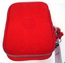 NWT Kipling Cherry Red 100 Pens Pencil Makeup Artist Brush Nylon Case Bag