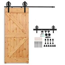 6FT Big Wheel Antique Black Steel Sliding Barn Wood Door Hardware Kit Closet Set