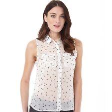 Camisa para mujer sin mangas de gasa pura Superdry, estrella de dispersión, XS Reino Unido 8, BNWT