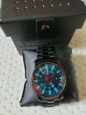 NIB Diesel Men's ARMBAR Black Steel Iridescent Crystal Lens 44mm Watch DZ1870