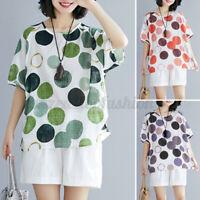 Womens Short Sleeve Casual Summer Tee Shirt Tops Polka Dot T-Shirt Blouse S-5XL