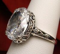 5ct White CZ Gem Sterling Silver Edwardian Floral Filigree Ring {Made To Order}