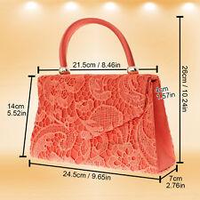 94f3c062a14 UK Evening Women Top Handle Lace Satin Bridal Party Clutch Shoulder Bag  Handbag