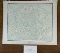 "Vintage 1900 VIENNA AUSTRIA Atlas Map 14""x11"" ~ Old Antique Original LANDSTRASSE"
