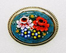 VINTAGE GOLD TONE HANDCRAFTED MOSAIC FLORAL PIN BROOCH  -  LB-C0626