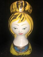 "Vintage Napcoware? Lady Head Bust Figurine Head Coin Bank 8""Tall Green Very Rare"