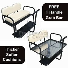 Club Car DS Golf Cart Flip Folding Rear Back Seat Kit with Diamond Plate - Buff