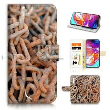 ( For Samsung A50 ) Wallet Flip Case Cover AJ40726 Rust Chain