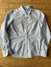 Ladies Fitted Work Style Blouse Blue White Stripe Cotton Size 8 Non Iron