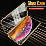 360° Clear Glass Magnetic Adsorption Metal Frame Case Cover For iPhone XR 8 Plus