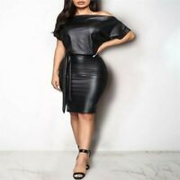 Short Mini Dress Wet Look Bodycon Party Sexy Women Cocktail Clubwear PU Leather