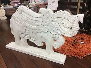 Balinese Handcrafted Elephant - whitewash finish- new - Bali