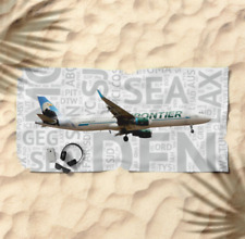 Frontier Airlines A321 with Airport Codes -  Beach Towel