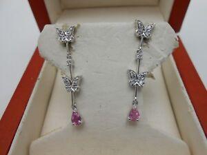 Designer EFFY Long 14k White Gold Diamond & Pink Sapphire Butterfly Earrings
