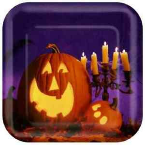 """Happy Carving Pumpkin Jack O' Lantern Carnival Halloween Party 7"""" Square Plates"""