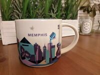 2015 Starbucks Coffee YAH Mug Memphis You Are Here Cup 14 oz White Blue Purple