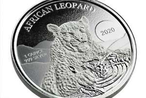 5 Cedis African Leopard - Ghana 1 OZ Silver 2020