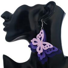 Unique Lovely Statement Jewellery Wooden Alloy Butterfly Earrings