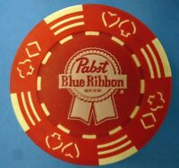 Pabst Blue Ribbon Poker Chip Red/White  RARE