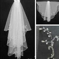 Handmade Beaded Beads Pearl White Ivory 2T Wedding Veils Bridal With Comb Veil
