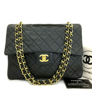 CHANEL Double Flap 25 Quilted CC Logo Lambskin w/Chain Shoulder Bag Black/90488