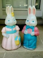 """Vintage Easter Bunny Rabbit Blow Mold Pair Boy & Girl Lighted Plastic Lot 25"""""""