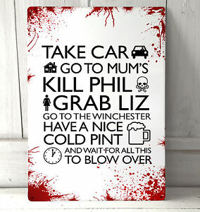 Shaun of the dead movie zombie film Quote blood splat sign A4 metal wall art